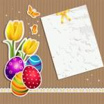 Eggs crumpled paper ticket — Stock Vector