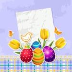 Easter eggs blue background — Stock Vector