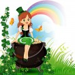 Stock Vector: Elf girl sitting on pot of gold