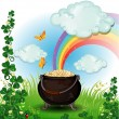 Stock Vector: Rainbow pot of gold