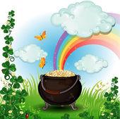 Rainbow pot of gold — Stock Vector