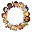 Children in Circle White Background - Stock Vector