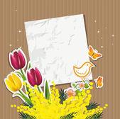 Ticket mimosa tulips and bird — Stock Vector