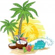 Stock Vector: Tropical landscape coconut
