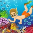 Stock Vector: Boy under sea