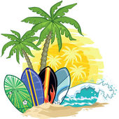 Palm trees and surfboards — Stock Vector