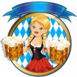 Girl with beer — Stock Vector #23794013