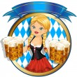 Stock Vector: Girl with beer