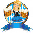 Bavarian Girl with flag and beer - Stock Vector