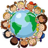 Alle verenigd in de wereld — Stockvector