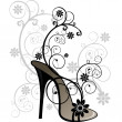 Stylized black sandal with floral decorations — Vector de stock