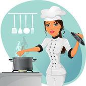 женщина шеф-повара — Cтоковый вектор