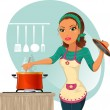Woman cooking - Stok Vektör