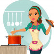 Stock Vector: Womcooking