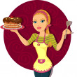 Woman with cake - Stockvectorbeeld