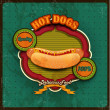 Stock Vector: Hot dogs menu green background
