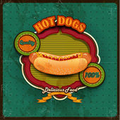 Hot dogs menu green background — Stock Vector