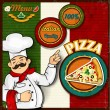bandera italiana chef pizza menú fondo — Vector de stock