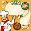 papel de menú de pizza chef — Vector de stock