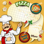 Chef pizza menu paper — Stock Vector