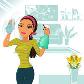 Woman who cleans — Stock Vector