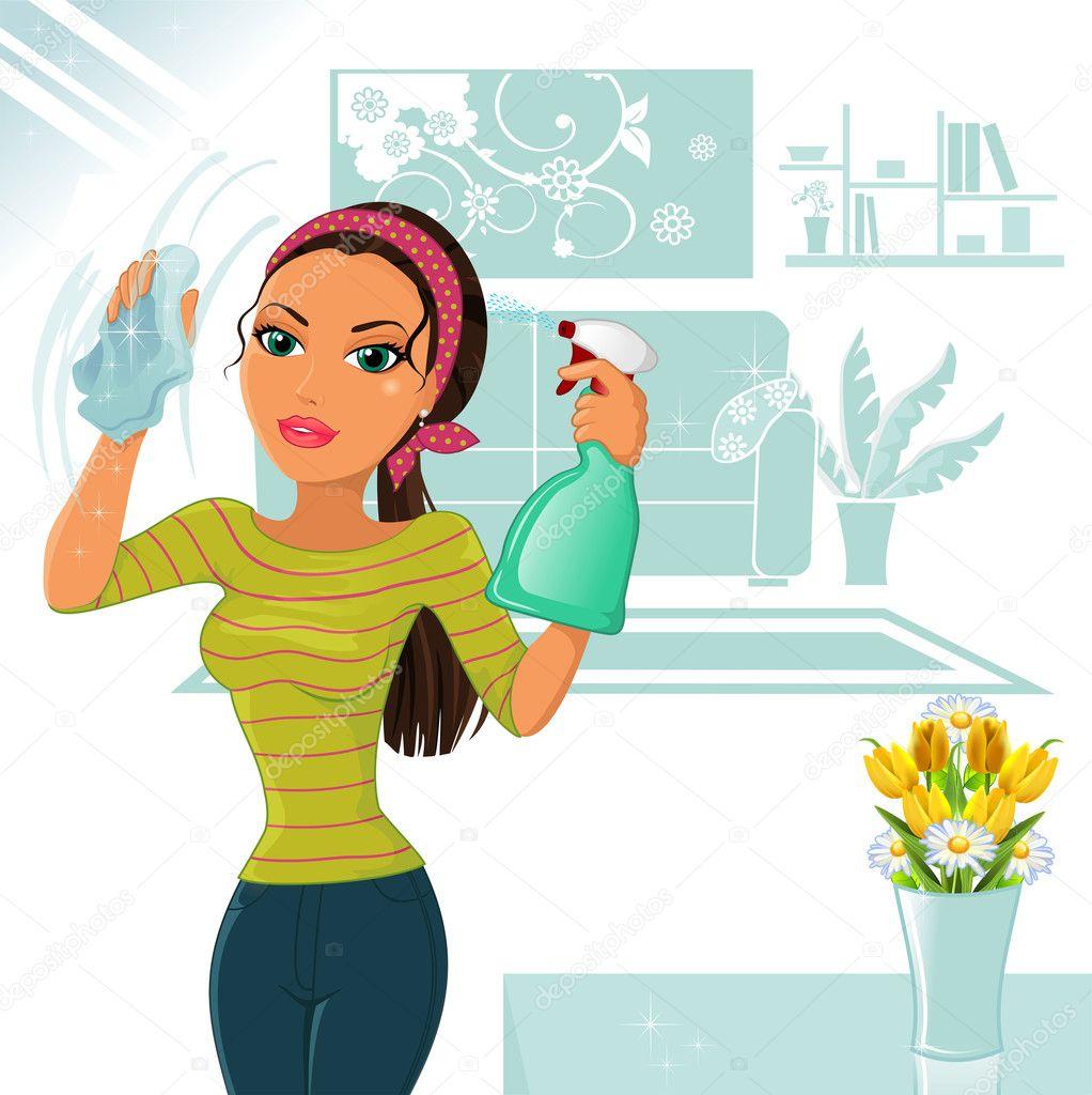 mujer que limpia vector de stock iostephy 27628589