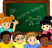дети в школе — Cтоковый вектор
