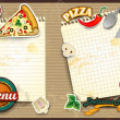 Menu pizza with paper folding — Stock Vector