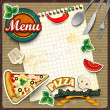 Menu pizza with sheet — Stock Vector