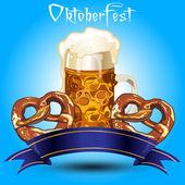 Beer and pretzel banner — Stock Vector