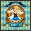 Stock Vector: Oktoberfest girl with vintage background