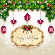 Christmas balls and decorations hanging — Imagen vectorial