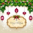 Christmas balls and decorations hanging — Stock Vector