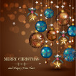 Christmas greeting cards with bronze and gold balls — Stock Vector