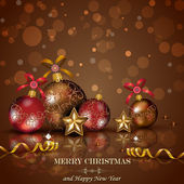 Red christmas balls on background of chocolate — Stock Vector