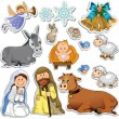 Stock Vector: Nativity scene stickers