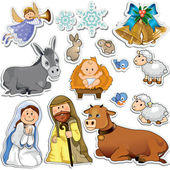 Nativity scene stickers — Stock Vector