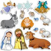 Nativity scene stickers — Vettoriale Stock