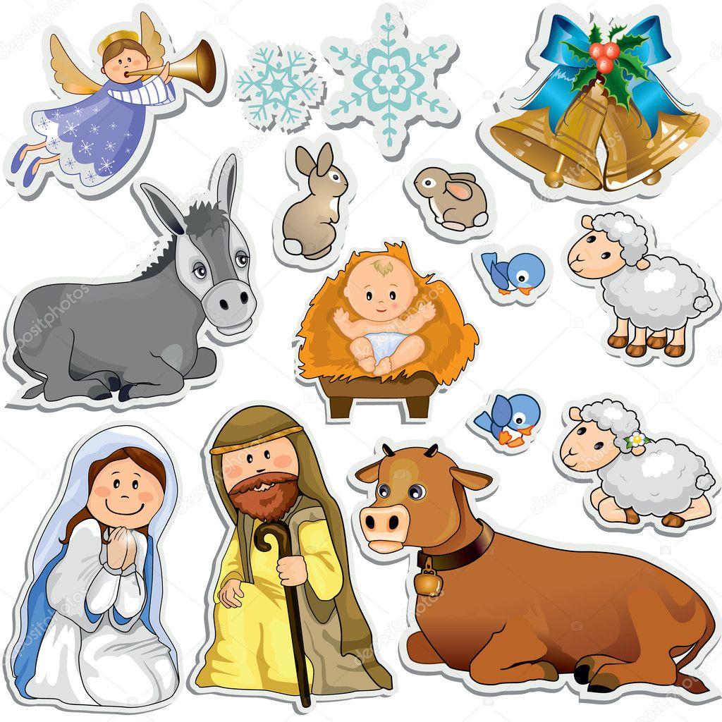 Nativity scene stickers — Stock Vector © iostephy #33635129