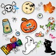 Set Halloween stickers — 图库矢量图片
