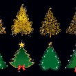 Set gold and green Christmas trees — Imagen vectorial