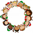 Children christmas circle — Stock Vector