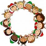 Children christmas circle — Stock Vector