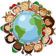 Children christmas globe — Vettoriali Stock