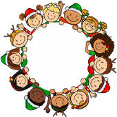 Children christmas circle — Vetorial Stock