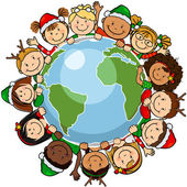 Children christmas globe — Stockvektor