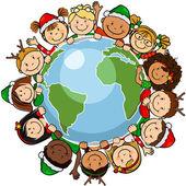 Children christmas globe — Stock Vector