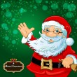 Santa Claus green background — Imagen vectorial