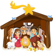 Holy family in a hut — Stock Vector