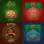 Four Vintage Christmas Cards — Stock Vector
